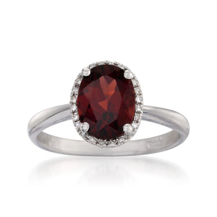 2.00 Carat Garnet Ring with Diamonds in 14kt White Gold, , default