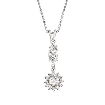 "C. 1990 Vintage 1.90 ct. t.w. Diamond Pendant Necklace in 14kt White Gold. 20"", , default"