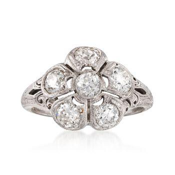 C. 1980 Vintage 1.15 ct. t.w. Diamond Floral Ring in Platinum. Size 5.5, , default