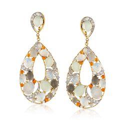 Multi-Stone and 3.30 ct. t.w. White Zircon Teardrop Earrings in 14kt Gold Over Sterling , , default