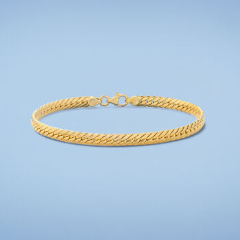 "Italian 18kt Yellow Gold Cuban-Link Bracelet. 7"", , default"