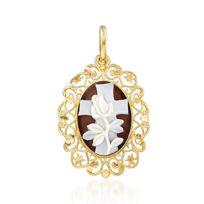 Italian Brown Shell Floral Cross Cameo Pendant in 14kt Yellow Gold