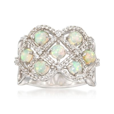 Opal and .50 ct. t.w. White Topaz Lattice Ring in Sterling Silver, , default