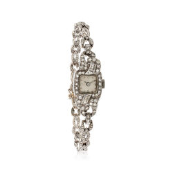 C. 1930 Vintage Women's Mechanical 2.90 ct. t.w. Diamond Watch in 18kt White Gold and Platinum, , default