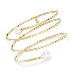 Italian Cultured Pearl Wrap Bangle Bracelet in 18kt Gold Over Sterling, , default