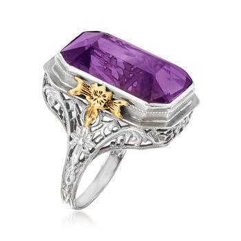 C. 1930 Vintage 14.40 Carat Amethyst Ring in 18kt White Gold. Size 7, , default