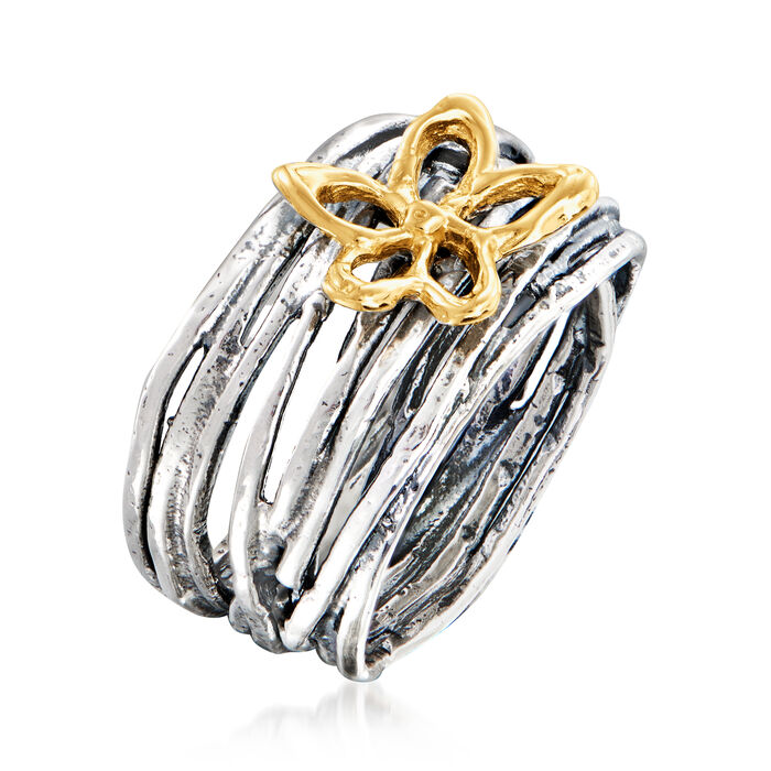 Sterling Silver and 14kt Yellow Gold Flower Ring