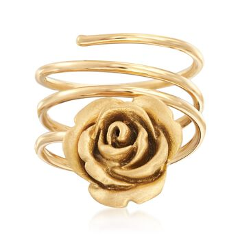Italian 18kt Yellow Gold Coiled Rose Ring, , default