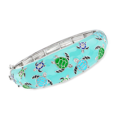 .30 ct. t.w. White Topaz and Multicolored Enamel Turtle Bangle Bracelet in Sterling Silver