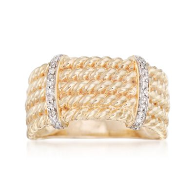 .10 ct. t.w. Diamond Roped Multi-Row Ring in 18kt Gold Over Sterling, , default