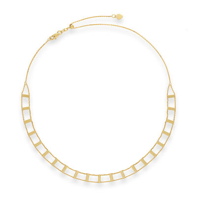 14kt Yellow Gold Railroad Choker Necklace, , default