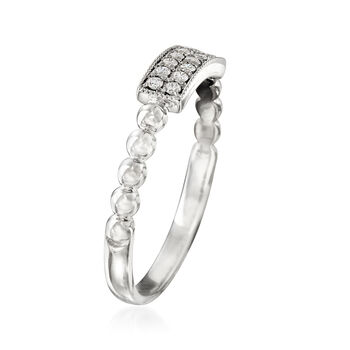 .12 ct. t.w. Diamond Two-Row Milgrain and Beaded Ring in 14kt White Gold