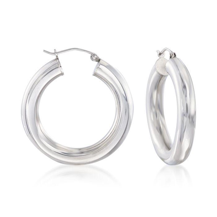 """5mm Sterling Silver Hoop Earrings. 1 1/4"""", , default"""