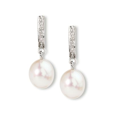 3605051954ef4 8-9mm Cultured Pearl Dangle Earrings with Diamond Accents in ...