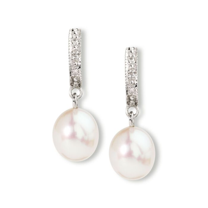 8-9mm Cultured Pearl Dangle Earrings with Diamond Accents in Sterling Silver, , default