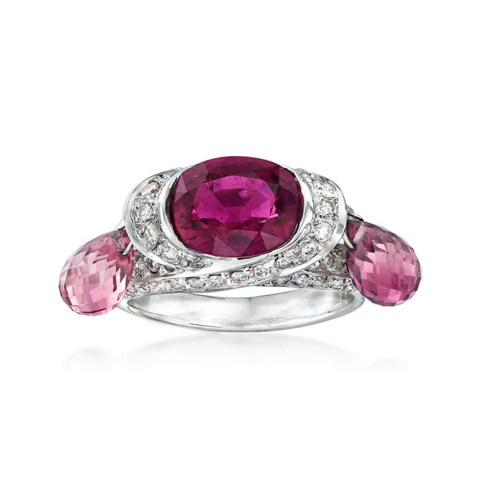 "C. 2000 Vintage 5.75 ct. t.w. Pink Tourmaline and .65 ct. t.w. Diamond Dangle Ring in 18kt White Gold. 6.5"", , default"
