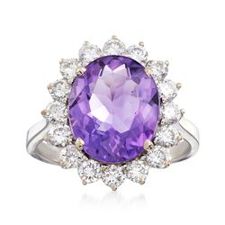 C. 1980 Vintage 3.90 Carat Amethyst and 1.15 ct. t.w. Diamond Ring in 18kt White Gold. Size 7, , default