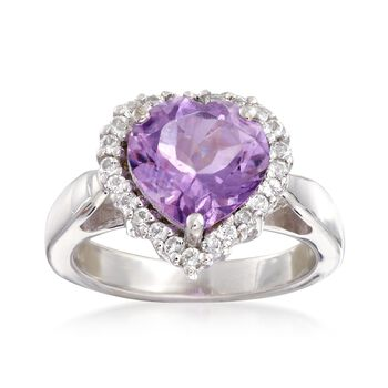 2.80 Carat Amethyst and .40 ct. t.w. White Topaz Heart Ring in Sterling Silver. Size 6, , default