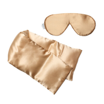 Gold Silk Hot/Cold Pack and Eye Mask Set, , default