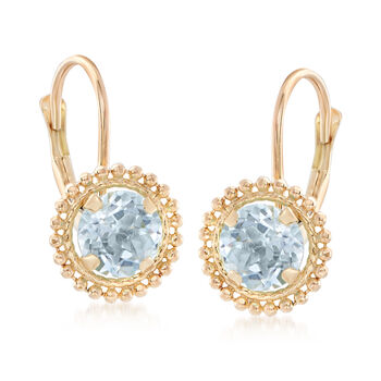 1.10 ct. t.w. Blue Topaz Beaded Drop Earrings in 14kt Yellow Gold, , default