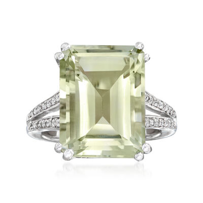 11.00 Carat Green Prasiolite and .10 ct. t.w. White Topaz Ring in Sterling Silver