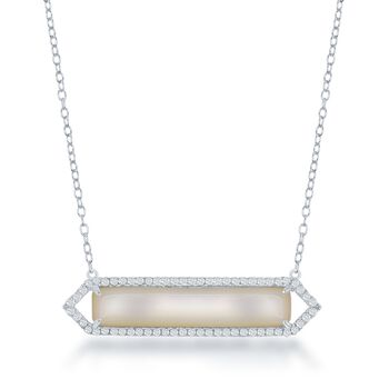 "Mother-Of-Pearl and .35 ct. t.w. CZ Bar Necklace in Sterling Silver. 16"", , default"