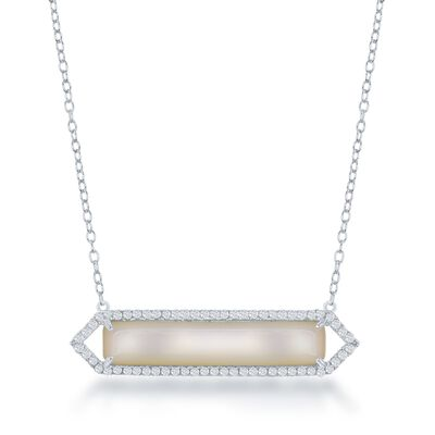 Mother-Of-Pearl and .35 ct. t.w. CZ Bar Necklace in Sterling Silver, , default