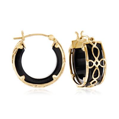 Black Agate and Filigree Hoop Earrings in 14kt Yellow Gold, , default