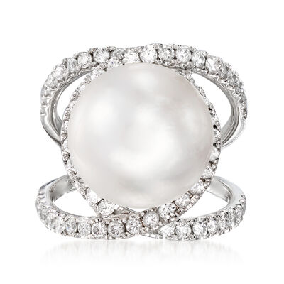 13mm Cultured South Sea Pearl and 1.85 ct. t.w. Diamond Open-Space Ring in 18kt White Gold