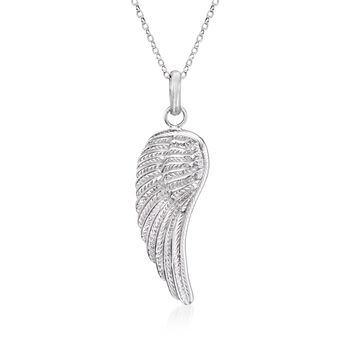 "Sterling Silver Single Angel Wing Pendant Necklace. 18"", , default"