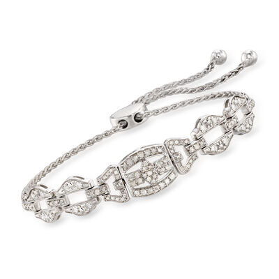 .50 ct. t.w. Diamond Link Bolo Bracelet in Sterling Silver, , default