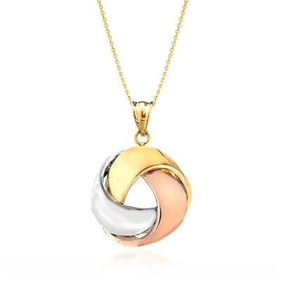 14kt Tri-Colored Gold Love Knot Ribbon Pendant Necklace, , default