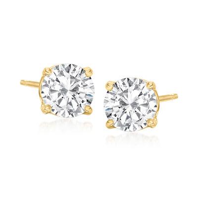 C. 2000 Vintage 1.50 ct. t.w. Diamond Stud Earrings in 14kt Yellow Gold