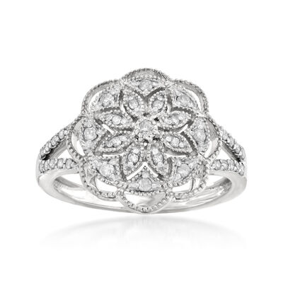 .25 ct. t.w. Diamond Openwork Flower Ring in Sterling Silver