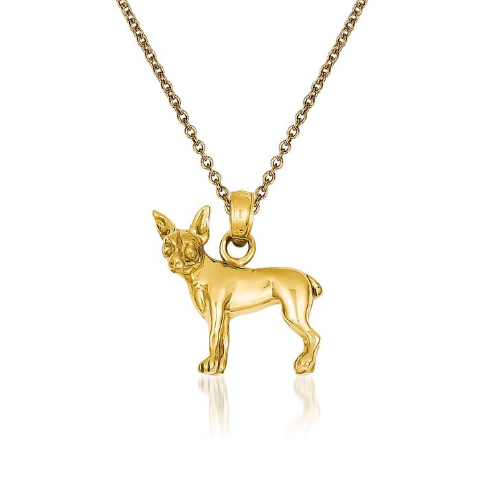 """14kt Yellow Gold Chihuahua Dog  Pendant Necklace. 18"""", , default"""