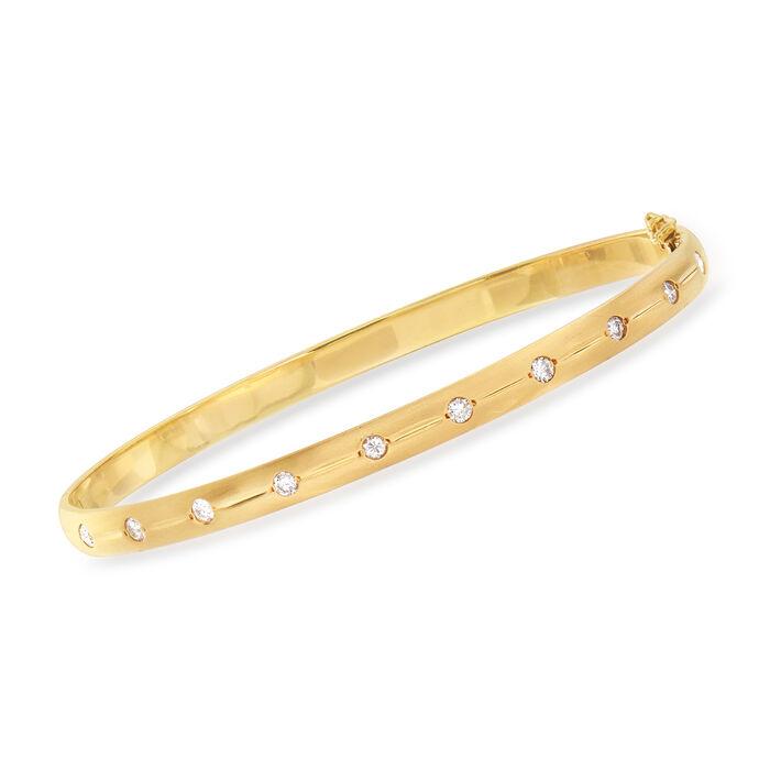 "C. 1970 Vintage .55 ct. t.w. Diamond Bangle Bracelet in 14kt Yellow Gold. 7"", , default"