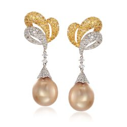 12.5-13mm Golden Cultured South Sea Pearl and Yellow and White Diamond Earrings in 18kt Two-Tone Gold, , default