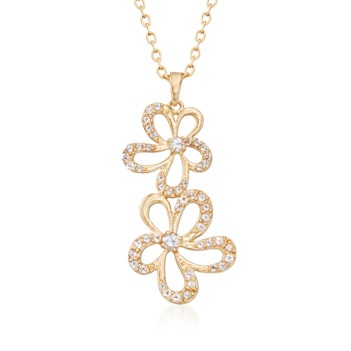 1.60 ct. t.w. White Topaz Flower Pendant Necklace in 14kt Gold Over Sterling, , default