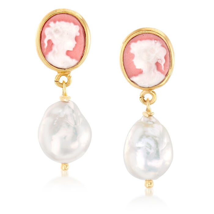 Italian 9-10mm Cultured Pearl Cameo Drop Earrings in 18kt Gold Over Sterling, , default