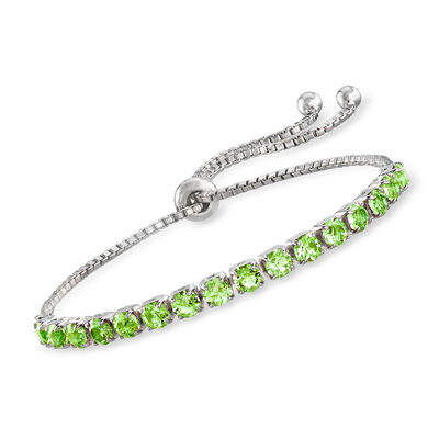 Swarovski Crystal Green Bolo Bracelet in Sterling Silver, , default