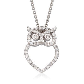 "Roberto Coin ""Tiny Treasures"" .21 ct. t.w. Diamond Owl Pendant Necklace in 18kt White Gold. 16"", , default"
