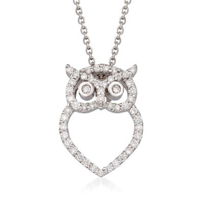 "Roberto Coin ""Tiny Treasures"" .21 ct. t.w. Diamond Owl Pendant Necklace in 18kt White Gold, , default"