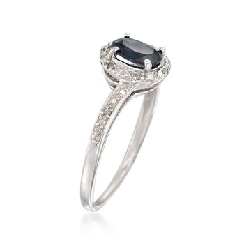 1.00 Carat Sapphire Ring with Diamond Accents in Sterling Silver