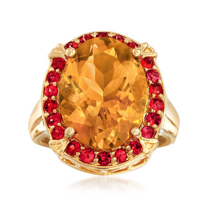 8.00 Carat Citrine and .80 ct. t.w. Orange Sapphire Ring in 18kt Yellow Gold Over Sterling, , default