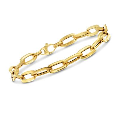Italian 14kt Yellow Gold Oval Paper Clip Link Bracelet, , default