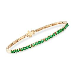 """1.60 ct. t.w. Emerald and 14kt Yellow Gold Bar Bracelet. 8"""", , default"""