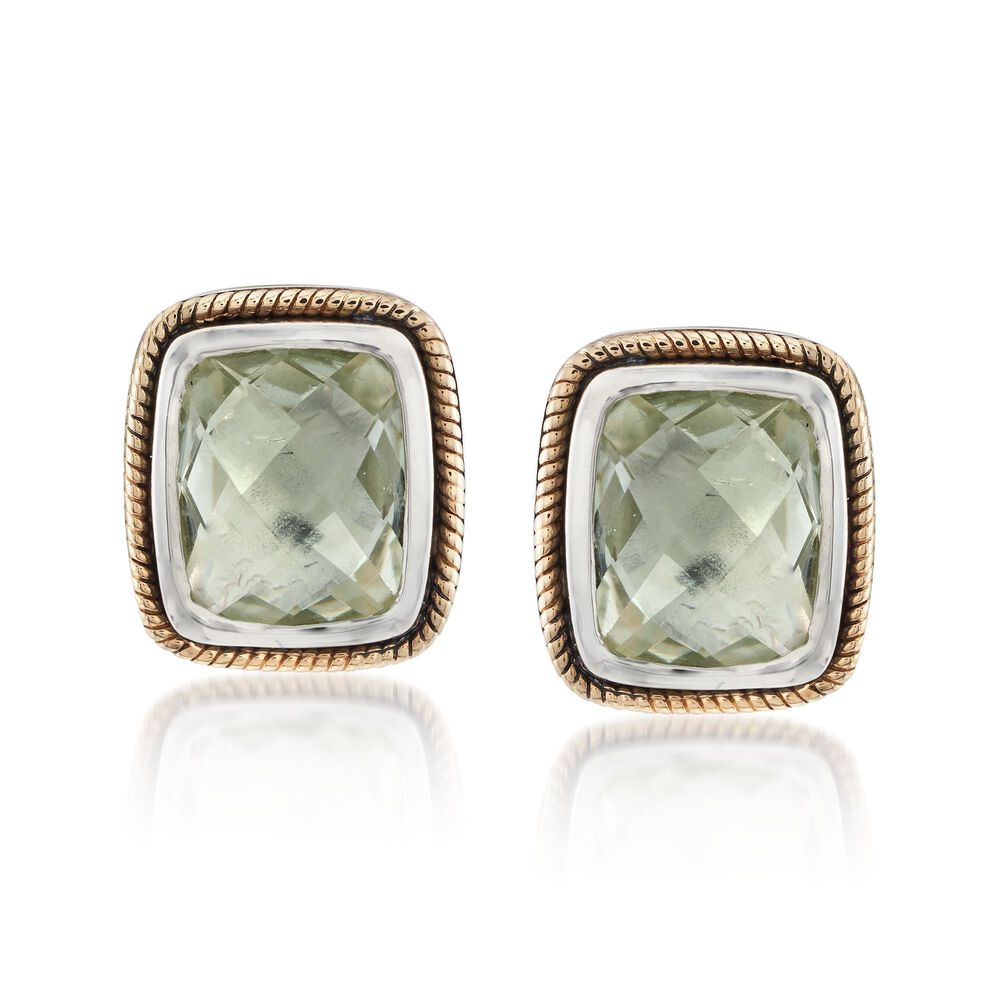 T W Green Prasiolite Earrings In Sterling Silver And 14kt Yellow Gold