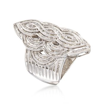 2.00 ct. t.w. Baguette Diamond Multi-Wave Ring in Sterling Silver, , default