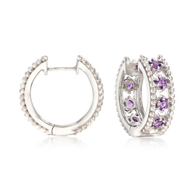 "Andrea Candela ""Cava"" 1.60 ct. t.w. Amethyst Hoop Earrings in Sterling Silver, , default"