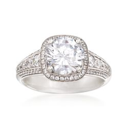 Simon G. .55 ct. t.w. Diamond Halo Engagement Ring Setting in 18kt White Gold, , default